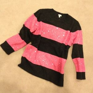 J. Crew Sweaters - J. crew Factory pink & black stripe sequin sweater