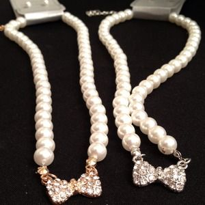 Jewelry - Silver or Gold Bow and Pearl Bead Necklaces