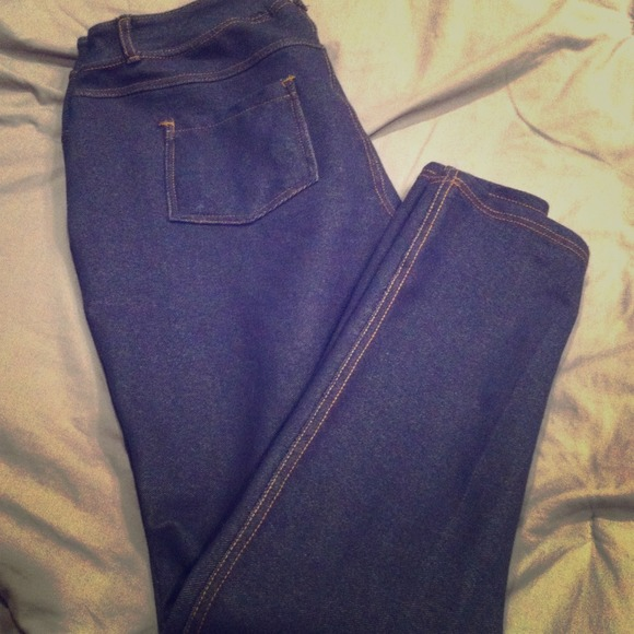 Savage Art Stretch Pants Denim Look Leggings Sz Lg