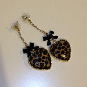 Betsey Johnson Jewelry - Betsey Johnson leopard heart black bow earrings!