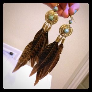 H&M Jewelry - Feather & turquoise statement earrings from H&M!