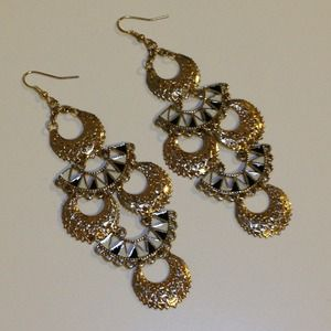 Forever 21 Jewelry - Black, white, & gold earrings from Forever 21