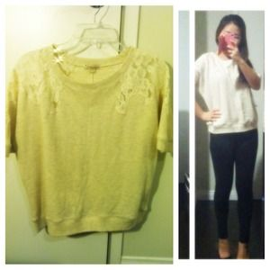 Sweaters - Oatmeal lace shoulder pullover