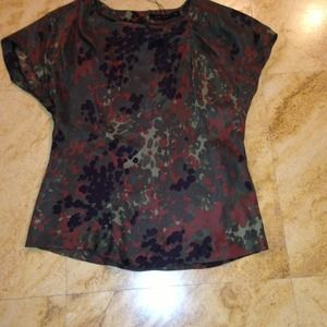 Camo silk top