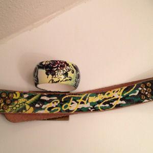 Ed Hardy Leather Belt & a Ceramic Art Bracelet