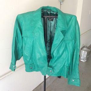 Vintage green leather jacket- last price drop!!!