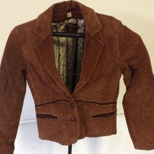 Genuine leather cognac jacket