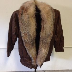Brown leather jacket with fur