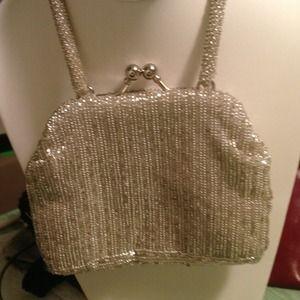 Small Silver Beaded Vintage Handbag