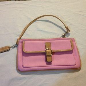 Pink and Tan Coach Wristlet