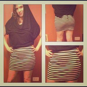 CLOSING SALE Silence & Noise Striped Zipper Skirt