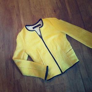 Zara Jackets & Blazers - ZARA tweed like yellow jacket with leather trim