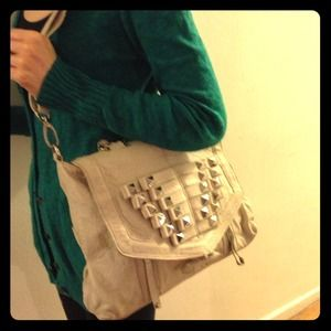 Hype white leather satchel with studs