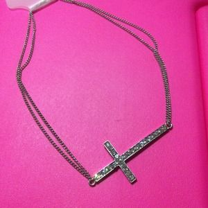 Jewelry - SILVER rhinestone Cross necklace !
