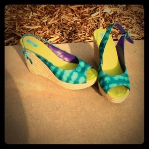 Calypso St. Barth turquoise & green wedges 8.5