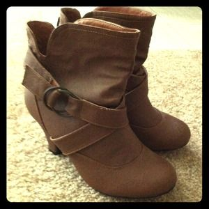 RESERVED Brown buckle ankle booties 6