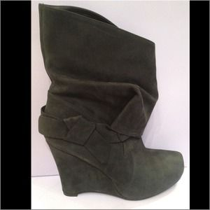 Black wedge boots by Vera Wang