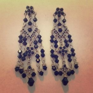 Black crystal chandelier earrings.