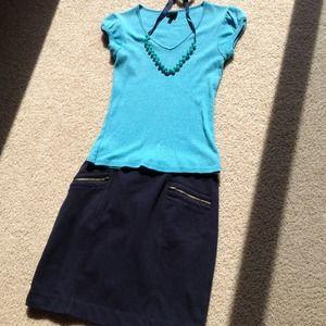 Tops - $10 SALE Aqua sparkle cap sleeve v neck tee