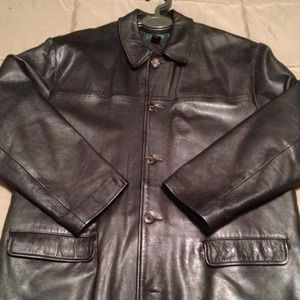 J Crew Black Leather Coat