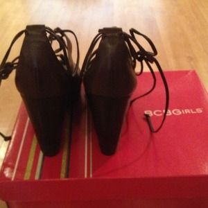 BCBG Shoes - BCBC Wedge- Brand New w/ tags! Brown ankle ties