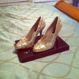 White House Black Market Shoes - White House Black Market gold sequin shoes