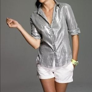 J. Crew Tops - J. Crew Silver Metallic Button Down Shirt Petite
