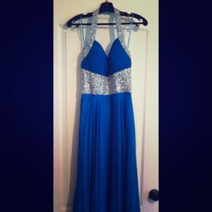 Blue Chiffon Halter Pageant Gown