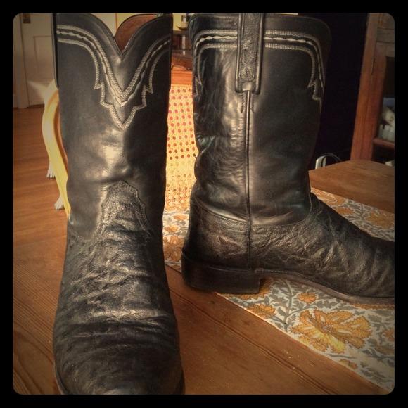 216e21ad334 Sz 12 Men's Lucchese Elephant Skin Cowboy Boots