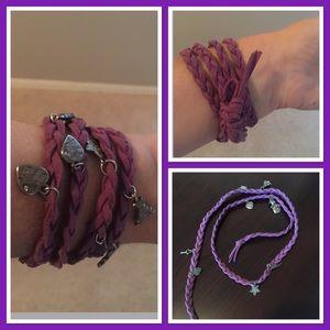 Jewelry - NWOT purple wrap charm bracelet