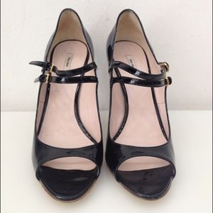 Miu Miu black patent open toe pump