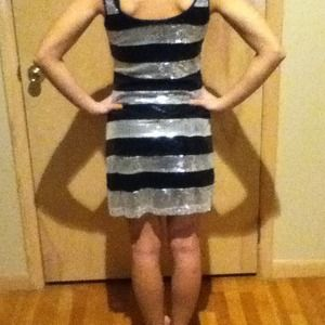 c39af9a8 Dresses | Black And Silver Striped Sequin Dress | Poshmark