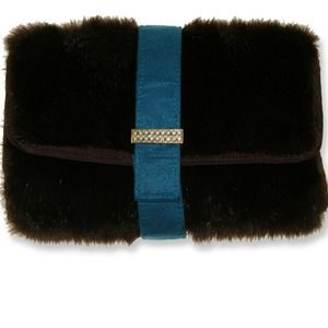 Stephanie Johnson faux black fur Clutch/Organizer