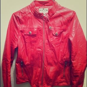 Faux Leather Red Jacket!