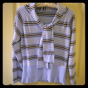 Tops - Very Nice Lt Blue Knit Top w/Brown & Ivory Stripes