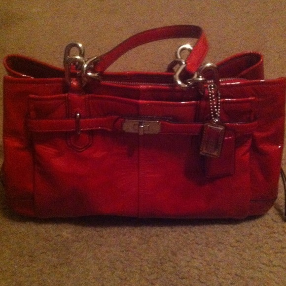 43% off Coach Handbags - patent leather red coach purse from ...