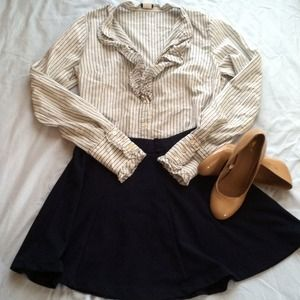 J. Crew Tops - **SOLD! Jcrew Ruffle Button Up