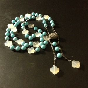 Silver and diamond with turquoise semi- precious