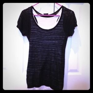 Tops - Black top with white tank top inside!