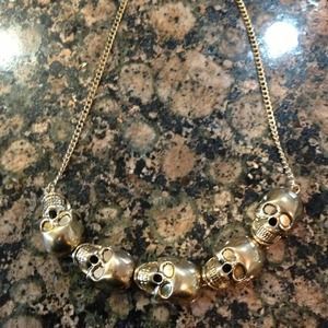 Accessories - Gold-tone skull statement necklace