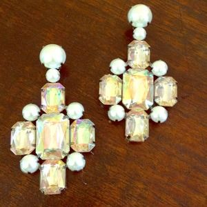 H&M clip on chandelier pinks color earrings