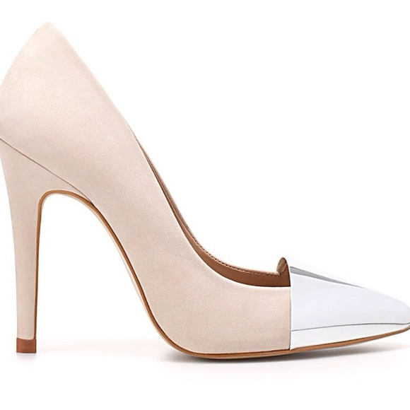 Zara Shoes - Zara Metallic Cap-Toe Pump