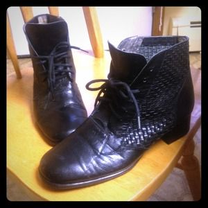 Boots - Vintage Leather Oxford Lace Up Booties Shoes