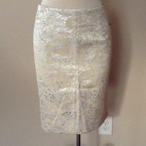 Forever 21 Dresses & Skirts - Beautiful cream silver metallic brocade pencil skt