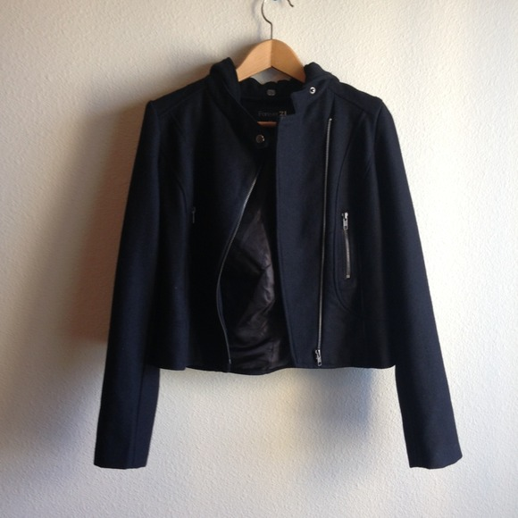 Forever 21 Jackets & Blazers - Sold---Forever 21 Black Cropped Jacket w/ Hood