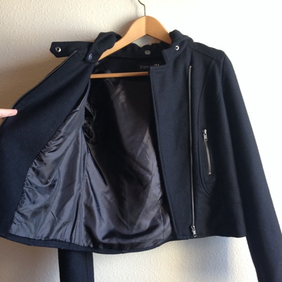 Forever 21 Jackets & Coats - Sold---Forever 21 Black Cropped Jacket w/ Hood