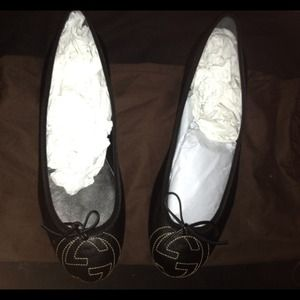 Black Leather Gucci Ballerina Flat