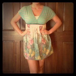 Sea foam green and gray stripe top dress