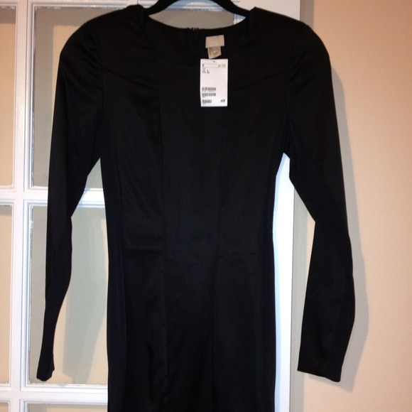 a7147462bfc5 H&M Dresses | Black Hm Dress Long Sleeves Ribbed Sides | Poshmark