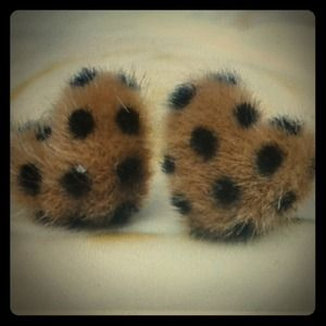 Jewelry - Fluffy Brown Black Leopard Heart Dots Earrings NEW